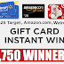 Win a $25 Amazon, Target or Walmart Gift Card Instantly From Coca Cola - 1,750 Winners. Daily Entry, Ends 12/27/19