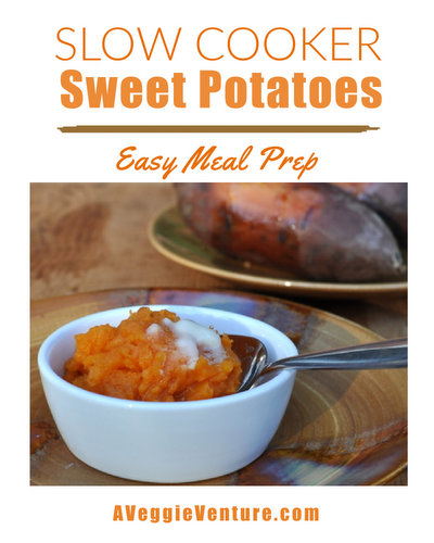 How to Cook Sweet Potatoes in a Slow Cooker, so simple ♥ AVeggieVenture.com. Great for Meal Prep. Vegan. Gluten Free. WW Friendly. Budget Friendly.