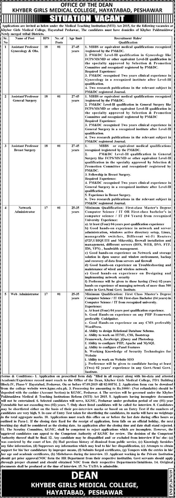 Advertisement for Khyber Girls Medical College Jobs