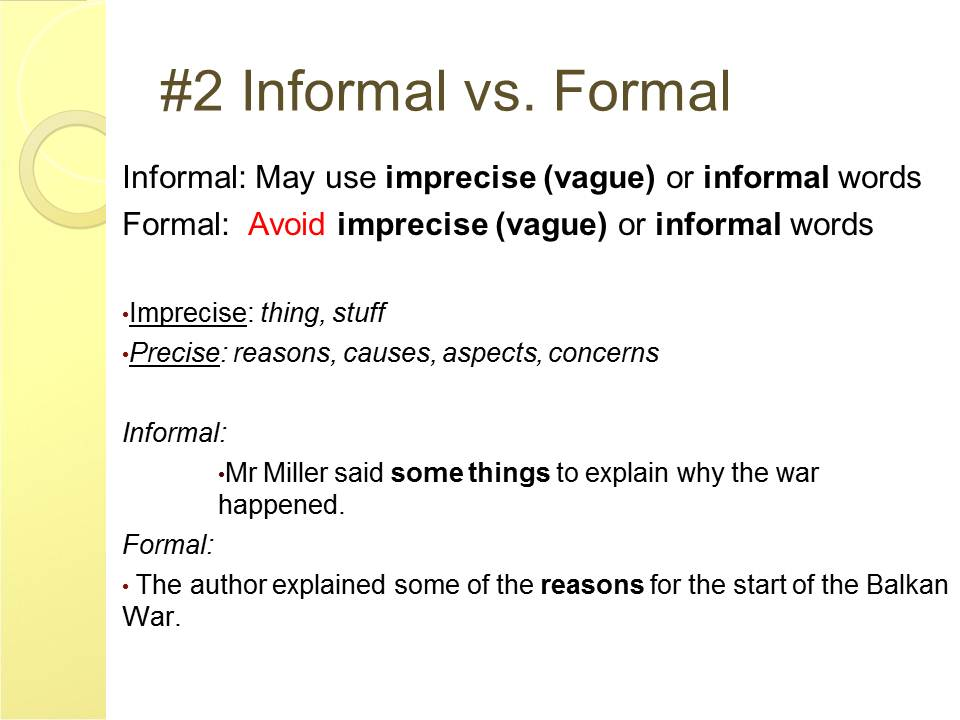 English and ESOL Lab Workshops: Formal vs Informal Writing