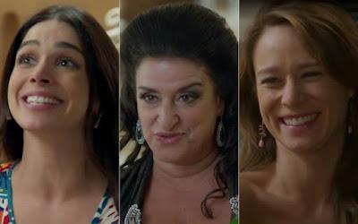 Shirlei (Sabrina Petraglia), Teodora (Grace Gianoukas) e Tancinha (Mariana Ximenes) em cena da novela