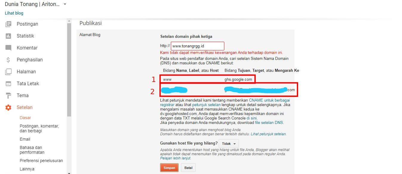 Dunia Tonang, Cara Mudah Custom Domain Blogspot dari Niagahoster, TonangRGG, Tonang RGG