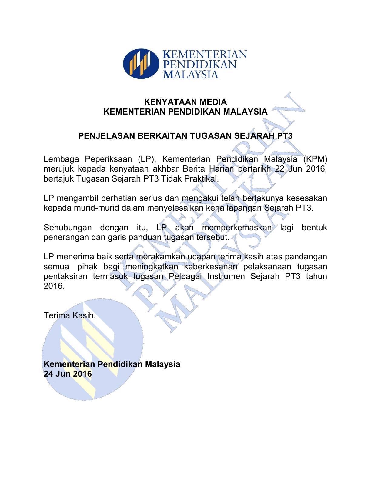 Kenyataan Media Kementerian Pendidikan Malaysia - Penjelasan Tugasan Sejarah PT3