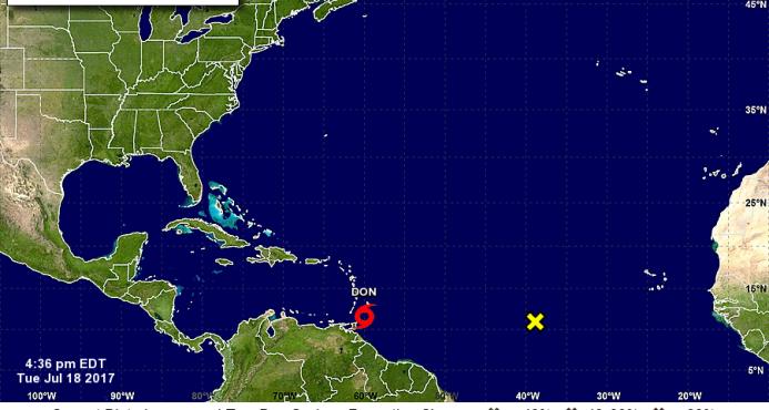 Tormenta tropical Don comienza a azotar el Caribe