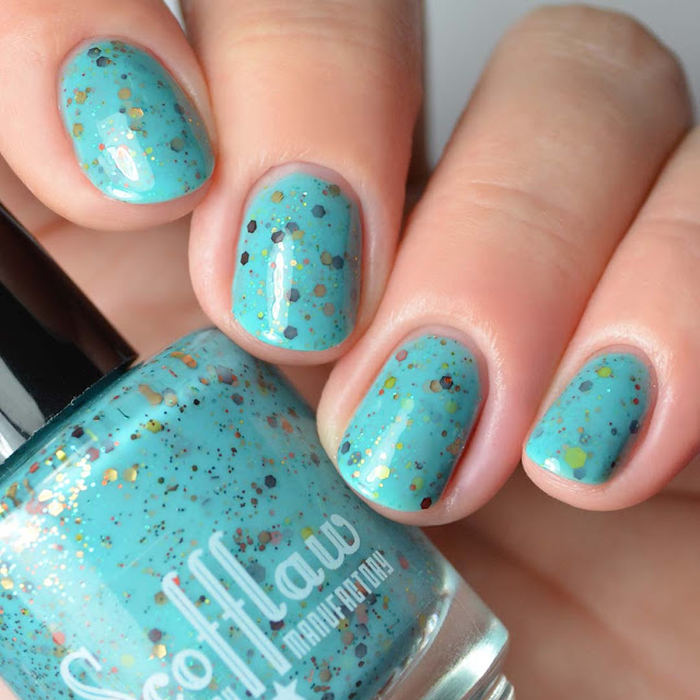 turquoise glitter crelly nail polish