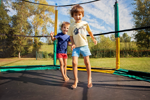 children on trampolines