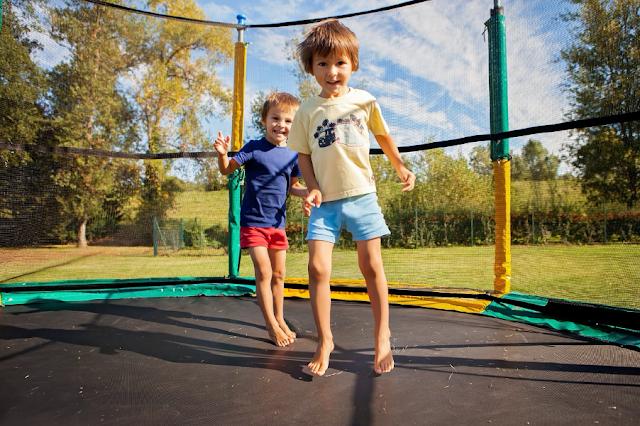 children on trampolines