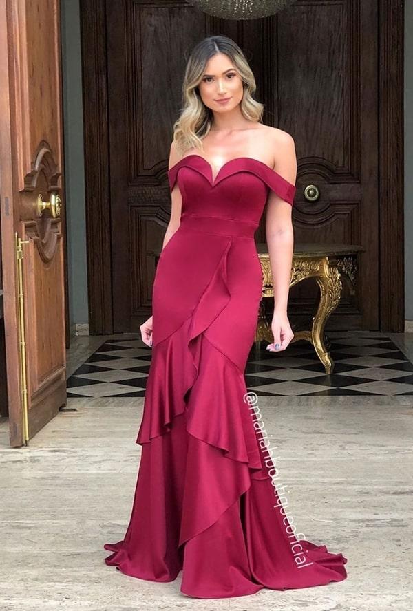 vestido longo marsala semi sereia