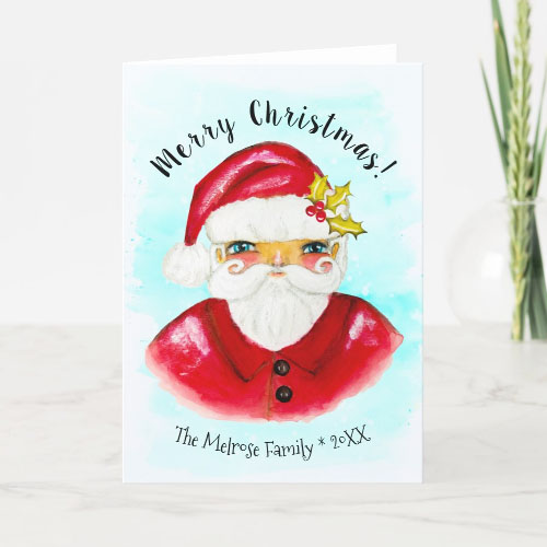 Classic Hand Painted Santa Christmas Card