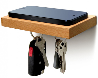 floating shelf for keys and smartphone