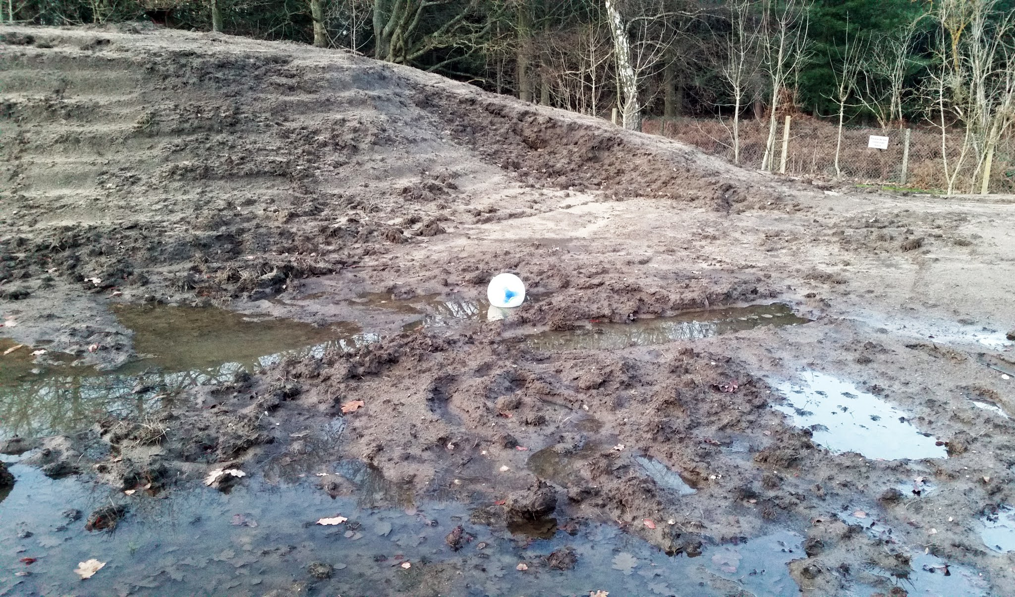 Ball in the mud at Ascot's Racecourse Ground