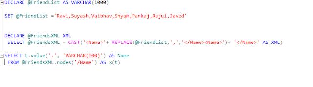 split string using XML in SQL SERVER