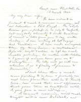 Letter from Atherton to his wife dated March 13 1862
