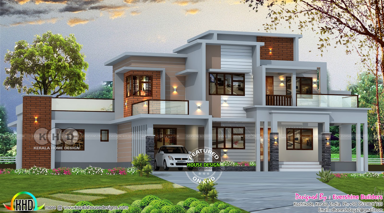 2850 Square Feet 4 Bedroom Box Model Contemporary House
