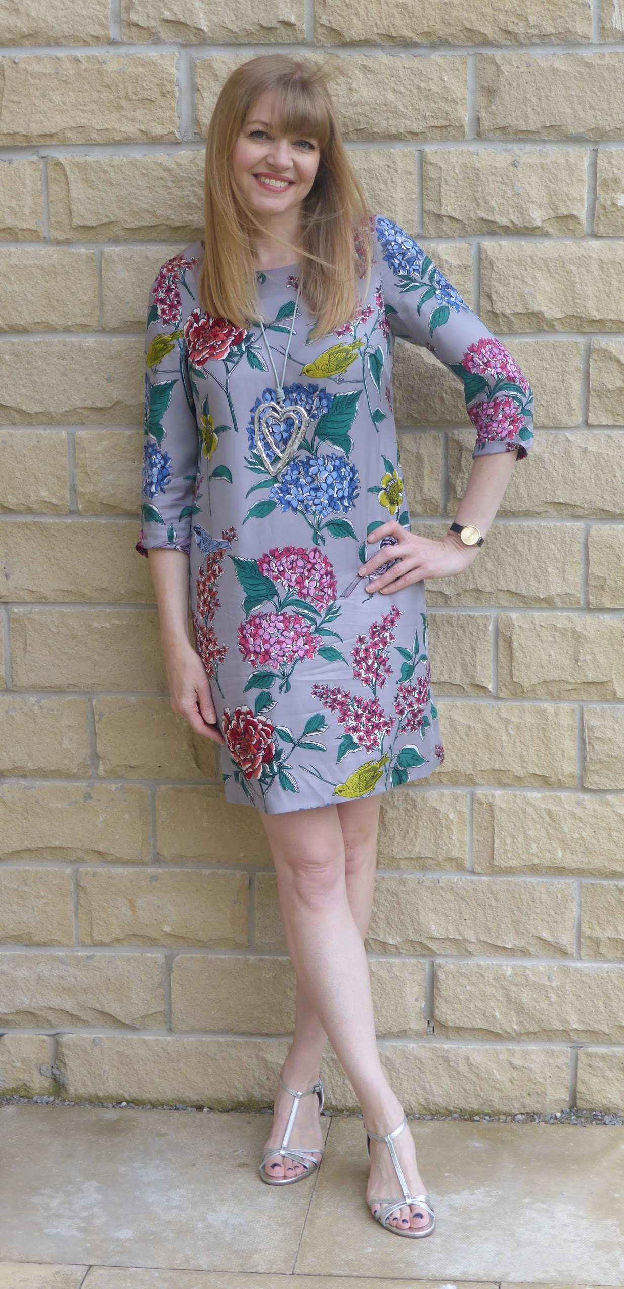 What Lizzy Loves wearing Boden Eliza tunic dress with silver sandals