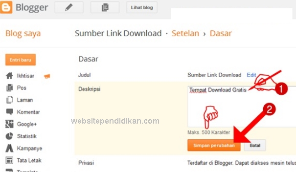 Membuat Deskripsi Blog di Blogger