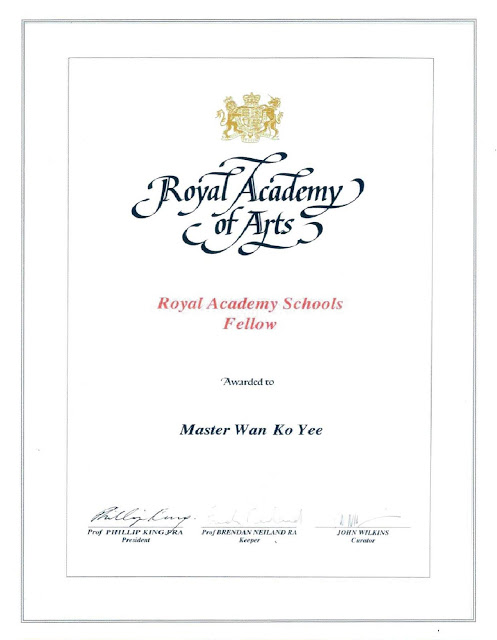 英国皇家艺术学院颁授给 Master Wan Ko Yee 义云高大师(第三世多杰羌佛)的 Fellow证书