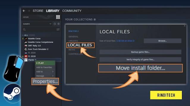 Cara memindahkan game Steam ke drive lain Tanpa install ulang