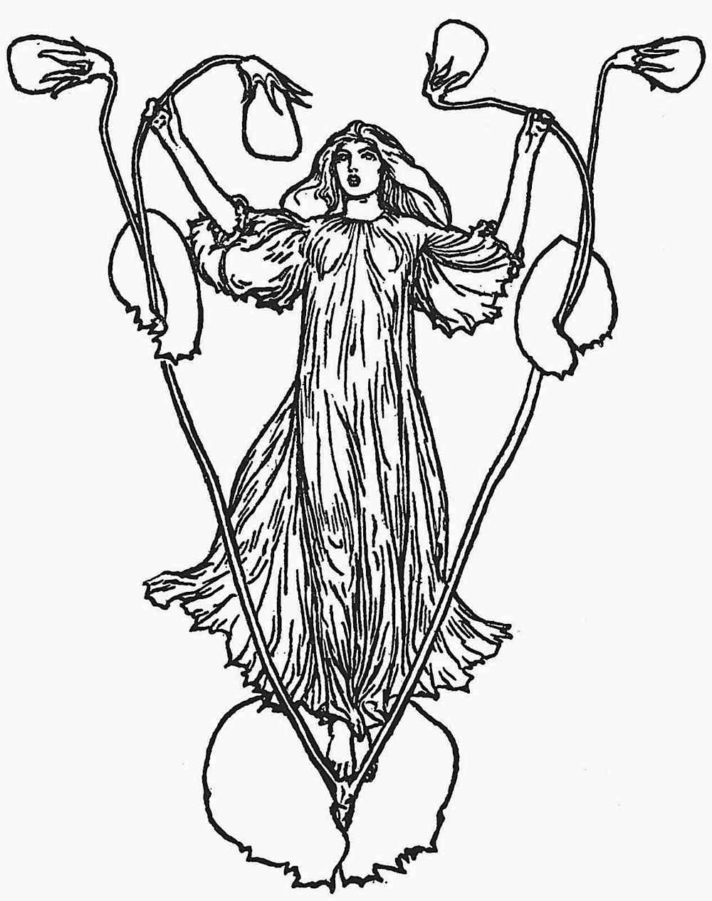 a Robert Anning Bell illustration of a fairy or faerie on a weed plant in a field