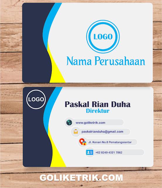 Download Desain Kartu Nama Elegan CDR Versi 1 - Goliketrik