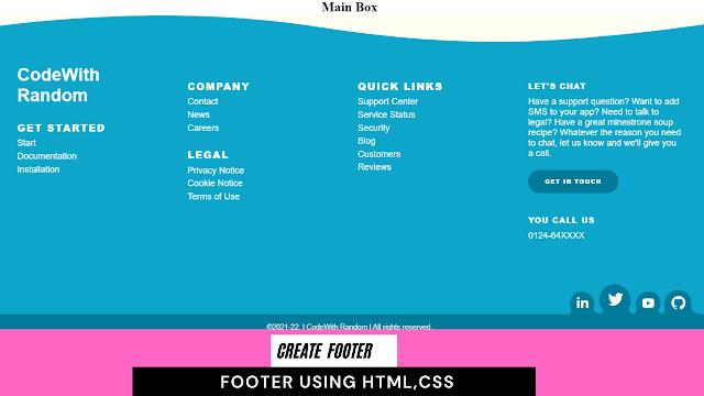 html footer   html footer template   html footer example using html  css
