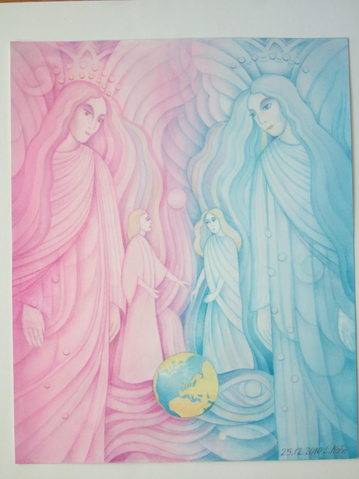 Spirituelle Aquarelle von Ludwig Kahn: Botschaft vom Engel ...