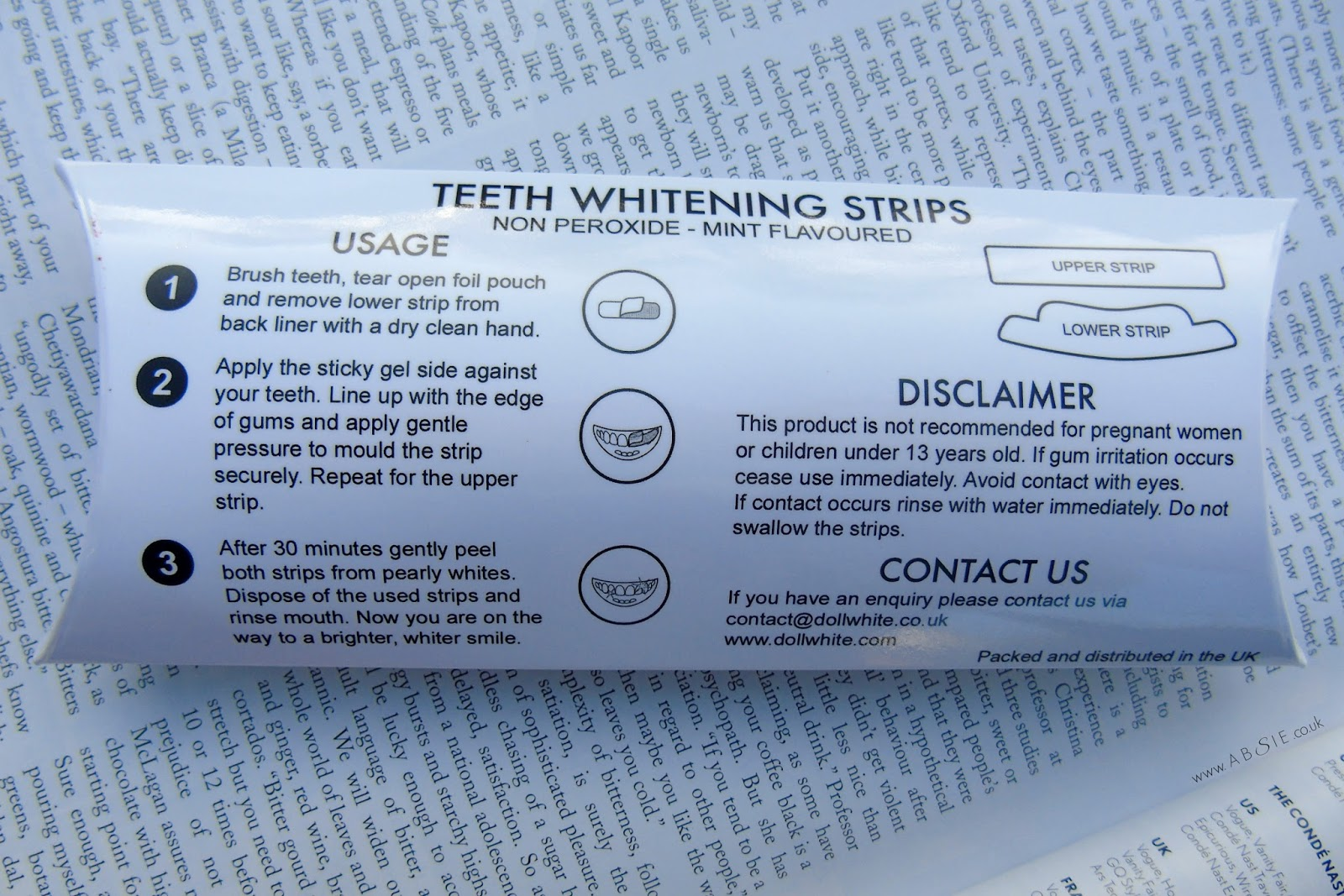 www.absie.co.uk: Doll White Teeth Whitening Strips Review
