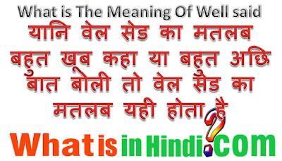 well said meaning in hindi