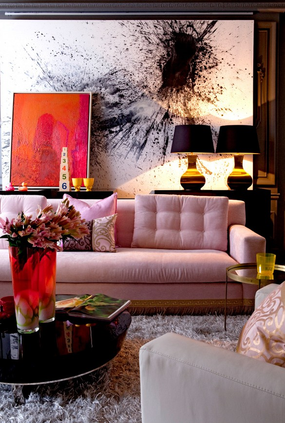 Pink and Brass Living Room