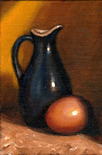 Oil painting of a blue porcelain sauce jug beside an egg.