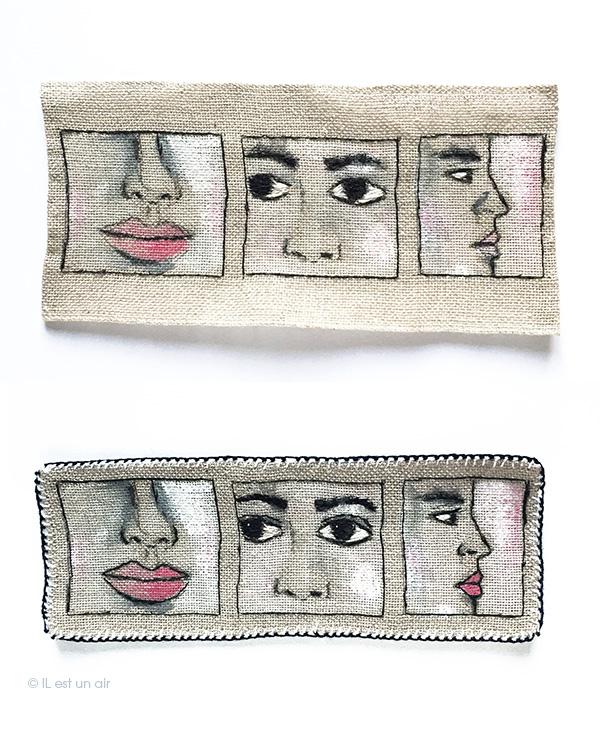 Broderie : 3 visages sur une toile avant/après