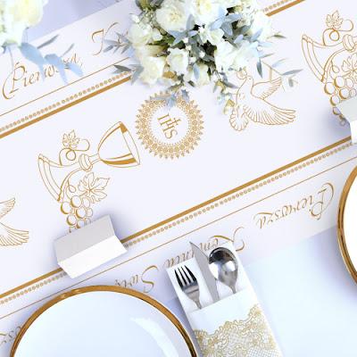 Bieżnik komunijny ze złotym kielichem - dekoracja na stół