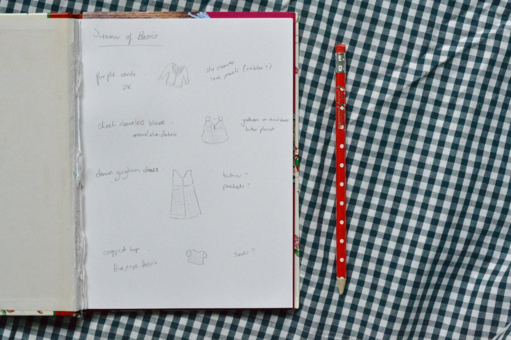 summer of basics plan notebook sketch pad pencil polka dots spotty cath kidston gingham fabric sewing wardrobe planning
