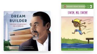 Two cover images. Dream Builder and Swim, Mo, Swim!