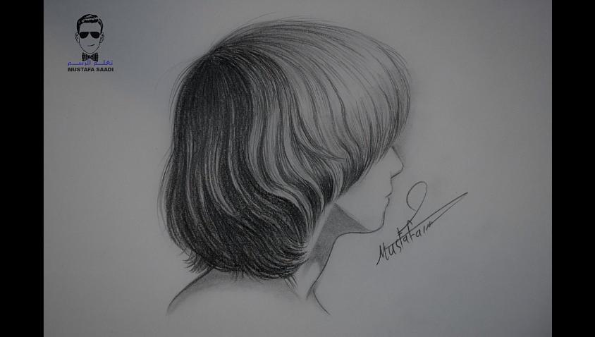 تعلم رسم الشعر القصير بالرصاص مع الخطوات للمبتدئين