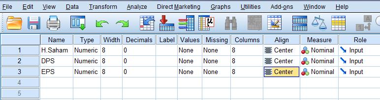 mendefinisikan variabel di spss statistik