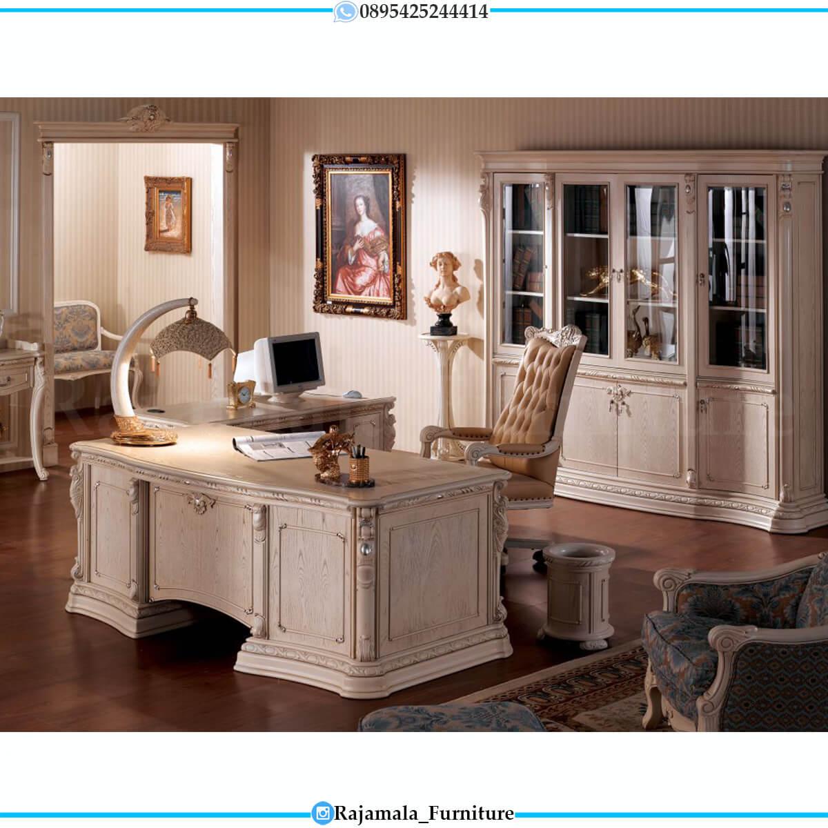 Meja Kantor Mewah Putih Luxury Classic Furniture Jepara RM-0569