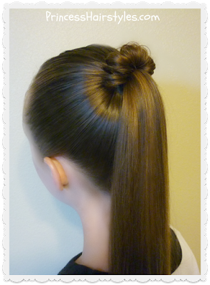 Spindle top ponytail hairstyle.