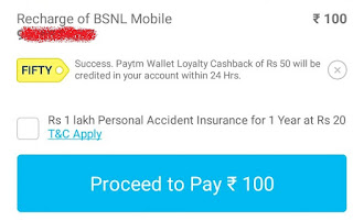 Paytm - Rs.50 Cashback on Recharge of Rs.100 or above