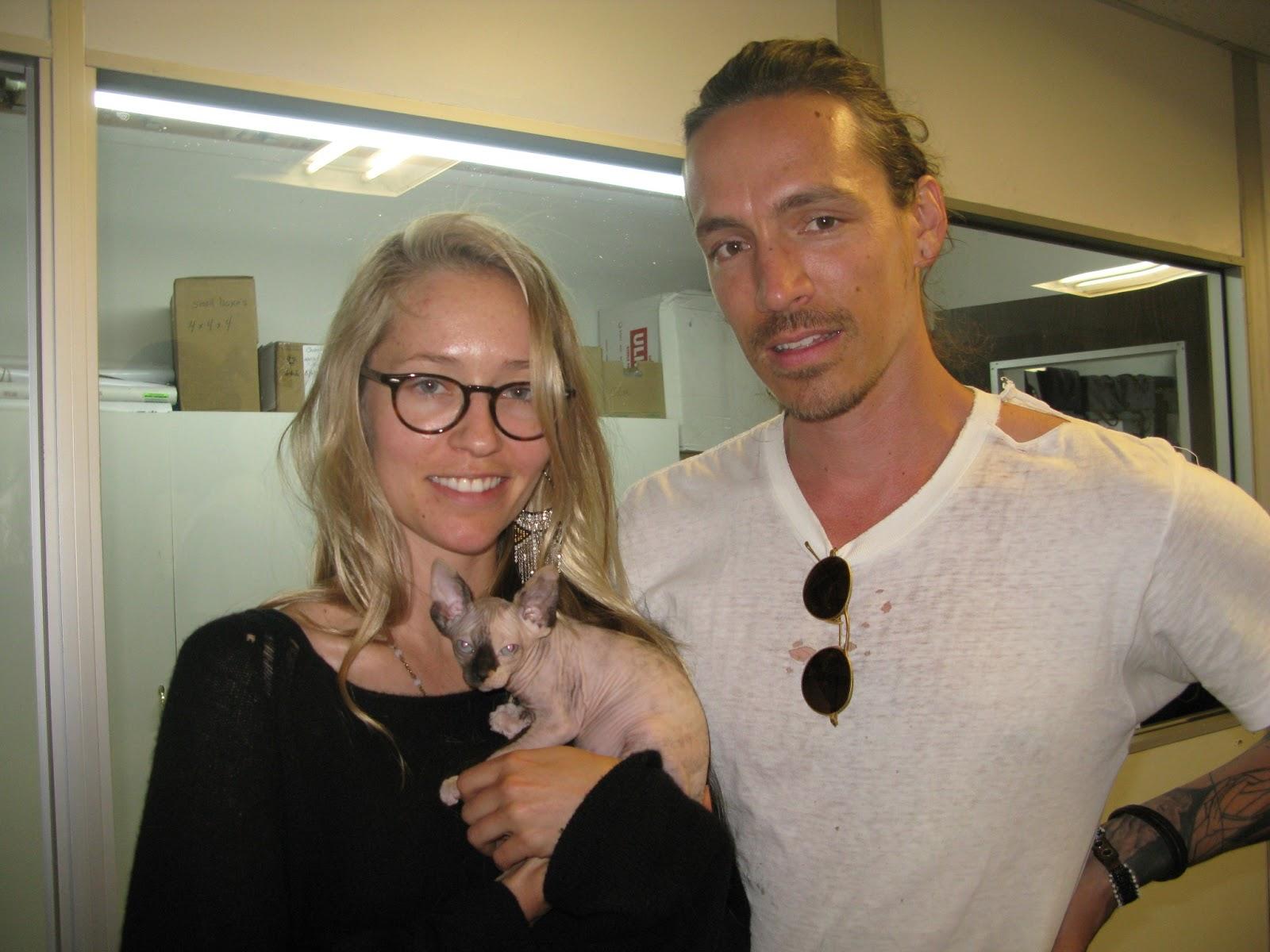 Brandon Boyd and girlfriend Baelyn Neff adopt an OCSphynx KittenBrandon Boyd Baelyn Neff 2013