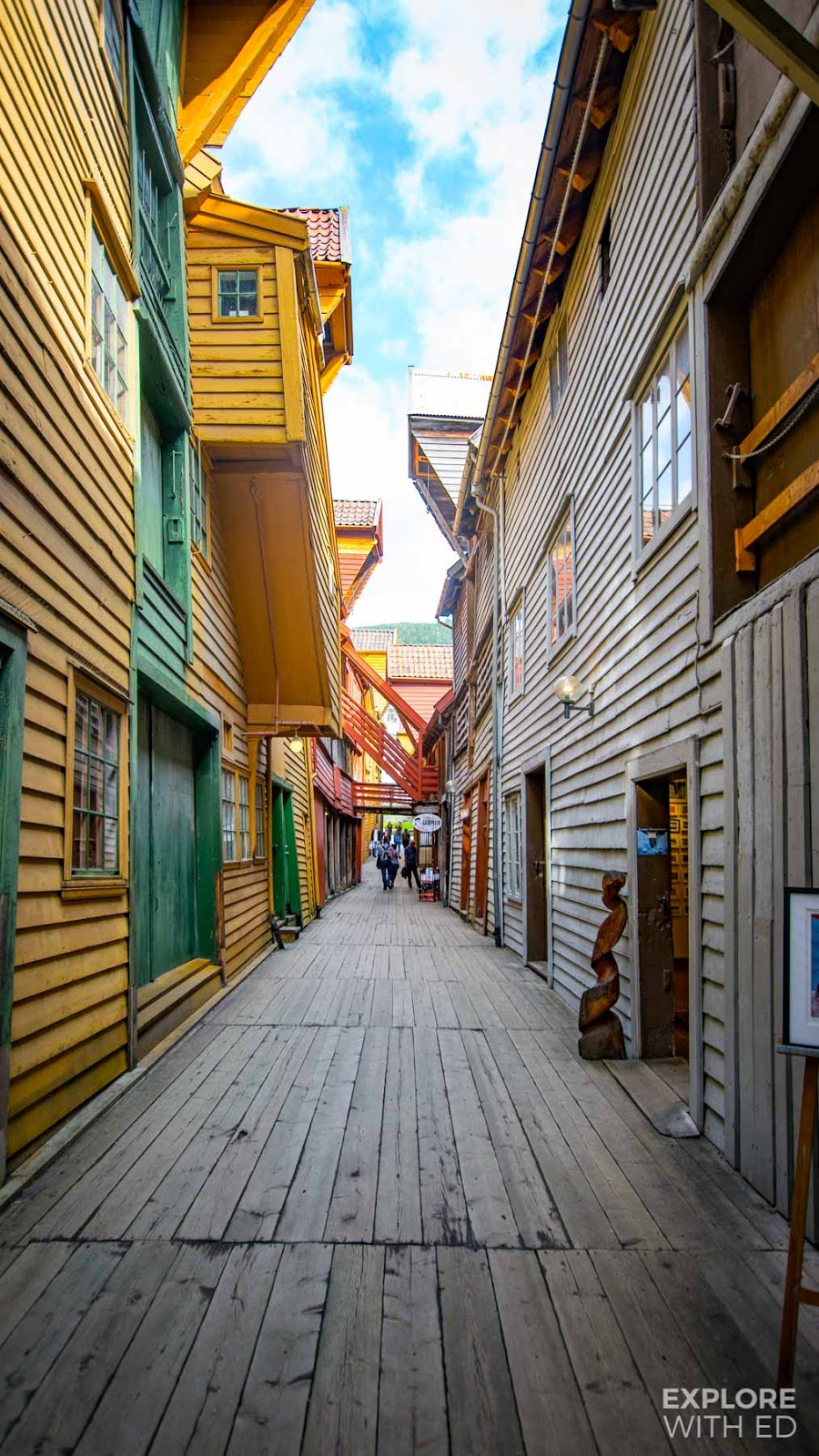 The colourful wooden alleys of The Bryggen, Bergen in Norway
