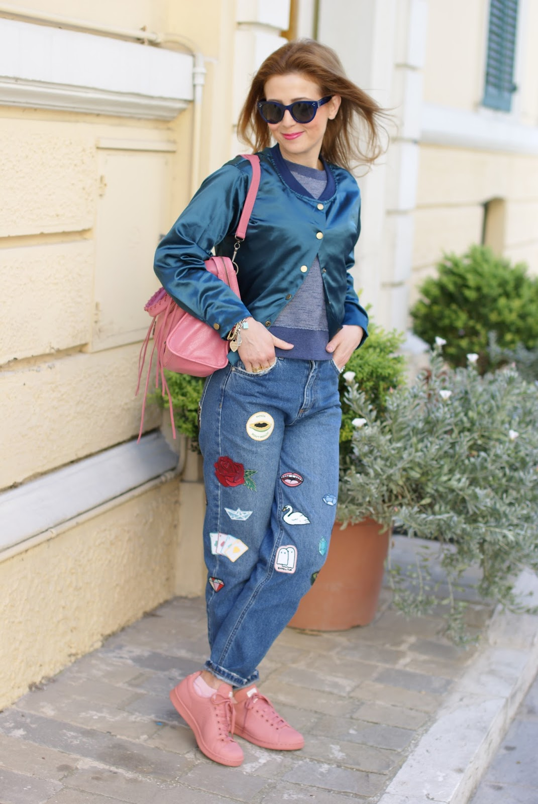 patched jeans and satin bomber on Fashion and Cookies fashion blog, fashion blogger style