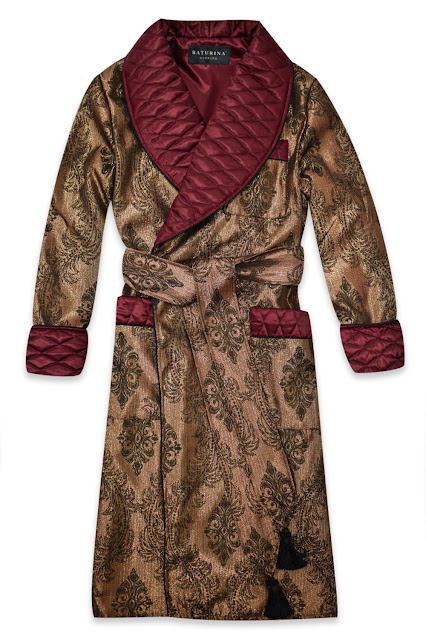 mens burgundy silk robe gold paisley dressing gown smoking jacket quilted housecoat