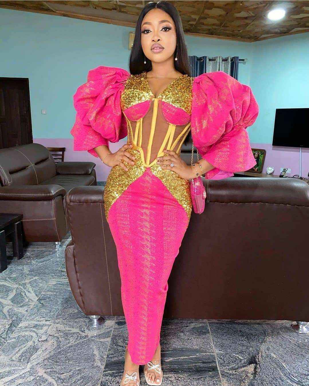 Pink Ankara wedding guest outfit