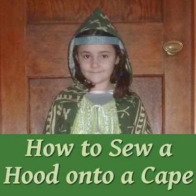 Sewing a hood onto a cloak or cape