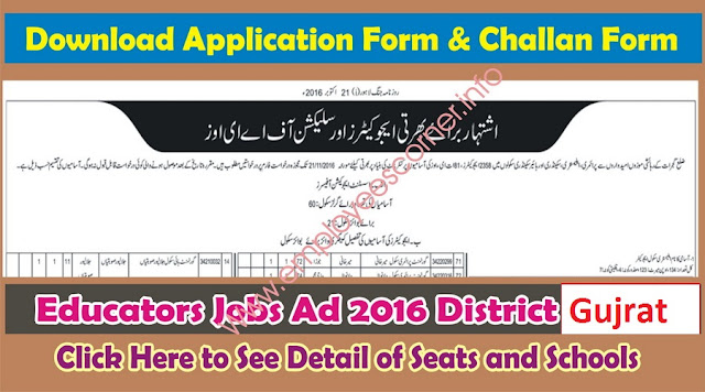Educators & AEOs Jobs 2016 in District Gujrat