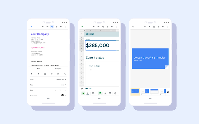 Screenshots of Google Docs, Slides, and Sheets with the Material redesign.