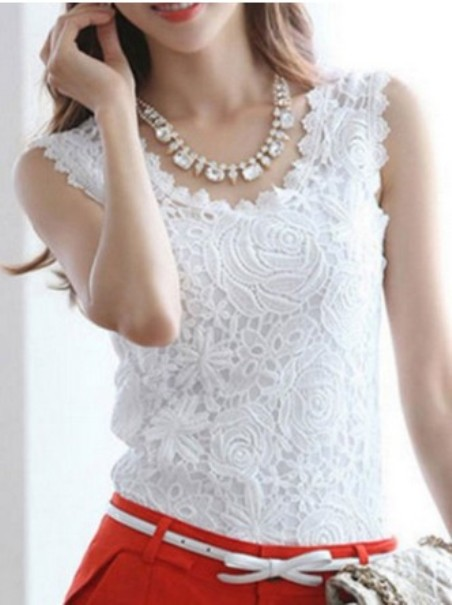 Spring Summer Cotton Women Round Neck Lace Sleeveless Blouses– Price:$ 14.81