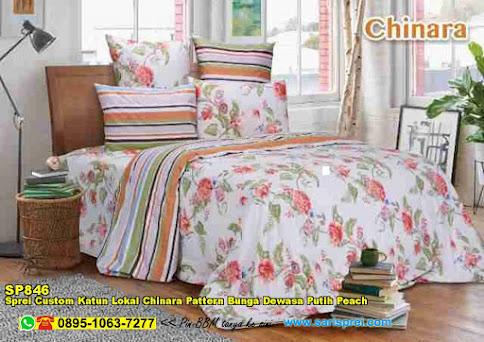 Sprei Custom Katun Lokal Chinara Pattern Bunga Dewasa Putih Peach