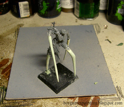 WIP photo of the conversion of a Sylvaneth Dryad, showing the sculpted limbs after sanding, smooth and sharp